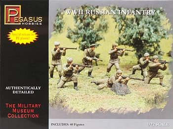 Pegasus Hobbies WWII Russian Infantry Combo (40) -- Plastic Model Military Figure -- 1/72 Scale -- #7498
