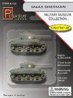 Pegasus M4A3 Sherman Tanks (2) Pre Built Plastic Model Tank 1/144 Scale #750