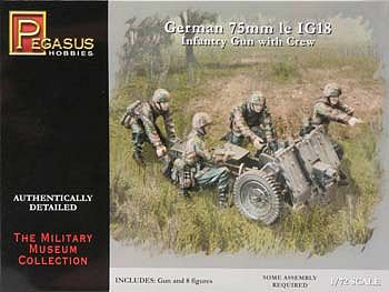 Pegasus Hobbies German IG-18 Gun & Crew (8) -- Plastic Model Military Figure -- 1/72 Scale -- #7510