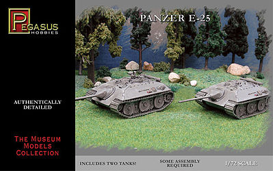 Pegasus Hobbies German Panzer E25 Tank (2) (Snap) -- Plastic Model Military Vehicle Kit -- 1/72 Scale -- #7602