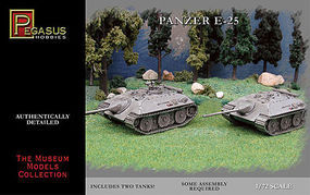 Pegasus German Panzer E25 Tank (2) (Snap) Plastic Model Military Vehicle Kit 1/72 Scale #7602