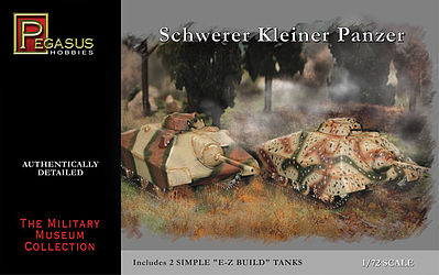 Pegasus Hobbies Schwerer Kleiner Panzer Tank (2) (Snap) -- Plastic Model Military Vehicle Kit -- 1/72 Scale -- #7605