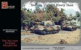 Pegasus German Tiger II Heavy Tank (2) (Snap) Plastic Model Military Vehicle Kit 1/72 Scale #7627