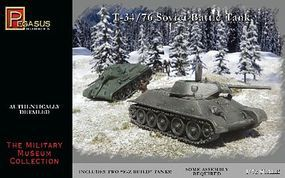 Pegasus Russian T34/76 Soviet Battle Tank (2) (Snap) Plastic Model Military Kit 1/72 Scale #7661