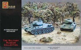 Pegasus T-34/85 Soviet Battle Tank (2) Plastic Model Military Vehicle Kit 1/72 Scale #7662