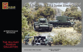 Pegasus KV1 Mod 1940 & KV2 Soviet Tank (2) (Snap) Plastic Model Military Kit 1/72 Scale #7665