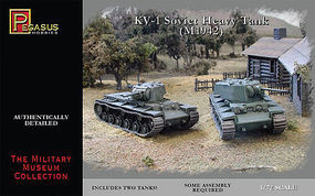 Pegasus KV1 Mod 1942 Soviet Heavy Tank (2) (Snap) Plastic Model Military Kit 1/72 Scale #7666