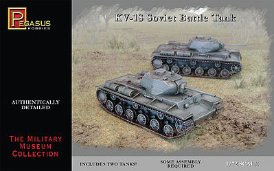 Pegasus KV1S Soviet Tank (2) (Snap) Plastic Model Military Vehicle Kit 1/72 Scale #7667