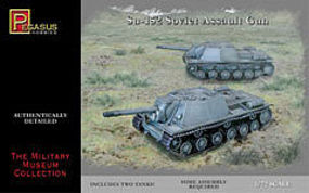 Pegasus Su152 Soviet Tank w/Assault Gun (2) (Snap) Plastic Model Military Kit 1/72 Scale #7668