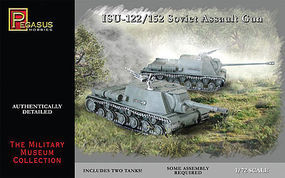 ISU122/152 Soviet Assault Gun Tank (2) (Snap) Plastic Model Military Kit 1/72 Scale #7670