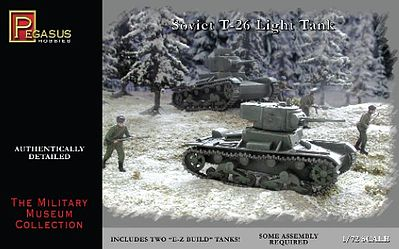 Pegasus Soviet T-26 Tanks Plastic Model Military Vehicle Kit 1/72 Scale #7671