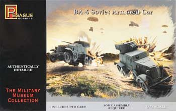 Pegasus Hobbies BA-6 Armored Cars (2) -- Plastic Model Military Vehicle Kit -- 1/72 Scale -- #7672