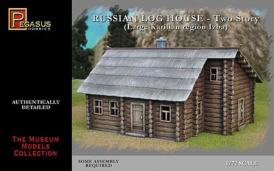 Pegasus Hobbies Russian 2-Story Log House (Snap) -- Plastic Model Military Diorama Kit -- 1/72 Scale -- #7704