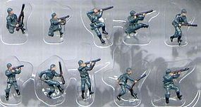 Pegasus German Infantry WWII (10) (Painted) Plastic Model Military Figure 1/144 Scale #851
