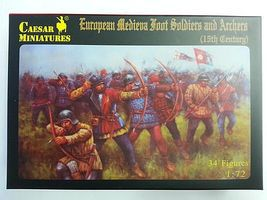 Pegasus 15th Century European Soldiers & Archers (34 Plastic Model Military Figure 1/72 Scale #c088