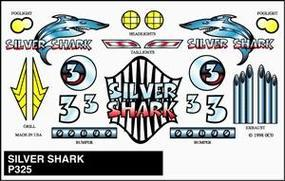 Pine-Car Pinewood Derby Silver Shark Stick-On Decal Pinewood Derby Decal and Finishing #p325