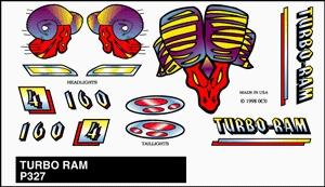 Pine Car Pinewood Derby Turbo Ram Stick-On Decal -- Pinewood Derby Decal and Finishing -- #p327