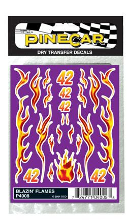 Pine-Car Pinewood Derby Blazin Flames Dry Transfer Pinewood Derby Decal and Finishing #p4008