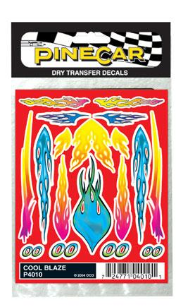 Pine Car Pinewood Derby Cool Blaze Dry Transfer -- Pinewood Derby Decal and Finishing -- #p4010