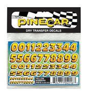 Pine-Car Pinewood Derby Yellow Numbers Dry Transfer Pinewood Derby Decal and Finishing #p4016
