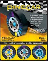 Pine-Car Chrome Wheel Flare 4x2-1/2 Pinewood Derby Decal and Finishing #p4063