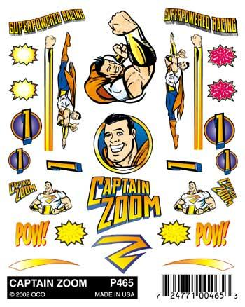 Pine-Car Pinewood Derby Captain Zoom Stick-On Decals Pinewood Derby Decal and Finishing #p465