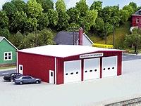 Pike Stuff Fire Station Kit (Red) -- HO Scale Model Railroad Building -- #192