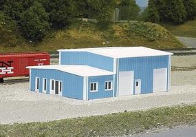 Pike-Stuff Contractors Building 40 x 60 (blue) N Scale Model Railroad Building #8006