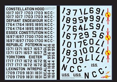 Polar Lights Star Trek USS Enterprise Registry Decals -- Science Fiction Plastic Model -- 1/350 -- #mka10