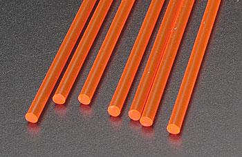 Plastruct Rod Round Fluorescent Red 1/8 (7) -- Model Scratch Building Plastic Rods -- #90273