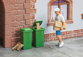 Garbage Cans - Carts Green pkg(2) - G-Scale