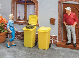 Pola Garbage Cans - Carts Yellow pkg(2) - G-Scale