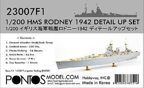 HMS Rodney 1942 Detail Set for TSM Plastic Model Ship Accessory 1/200 Scale #230071