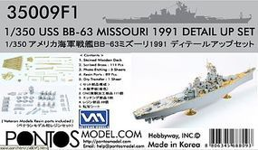 Pontos USS Missouri BB63 1991 Detail Set Plastic Model Ship Accessory 1/350 Scale #350091
