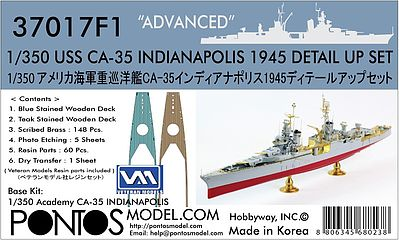 Pontos Model USS Indianapolis CA35 1945 Detail Set -- Plastic Model Ship Accessory -- 1/350 -- #370171