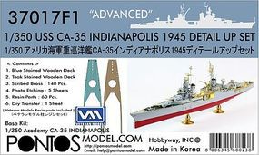 Pontos USS Indianapolis CA35 1945 Detail Set Plastic Model Ship Accessory 1/350 #370171