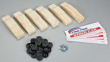 Pine-Pro Stock Car Bulk Pack 6 Vehicles/Axles/Wheels -- Pinewood Derby Car -- #10214