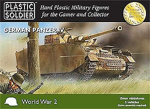 Plastic Soldier WWII German Panzer IV Tank (5) -- Plastic Model Tank Kit -- 15mm -- #1504
