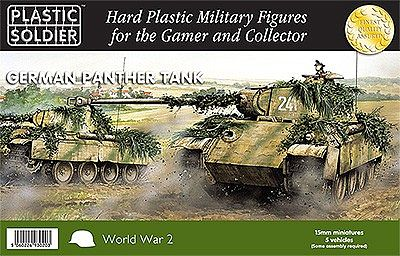 Plastic Soldier WWII German Panther Tank (5) -- Plastic Model Tank Kit -- 15mm -- #1512