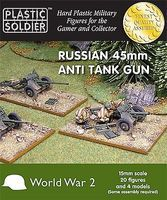 Plastic-Soldier WWII Russian 45mm Anti-Tank Gun (4) & Crew (20) Plastic Model Artillery Kit 15mm #1518