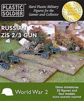 Plastic-Soldier WWII Russian Zis 2/3 Gun (4) & Crew (20) Plastic Model Artillery Kit 15mm #1519