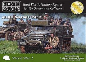 Plastic-Soldier WWII Allied M3 Halftrack (5) & Crew Plastic Model Halftrack Kit 15mm #1523