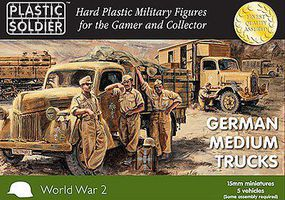 Plastic-Soldier WWII German Medium Trucks (5) Plastic Model Military Vehicle Kit 15mm #1546