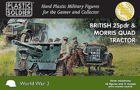 Plastic-Soldier British 25pdr Gun, Morris Quad Tractor Plastic Model Military Kit 15mm #1548