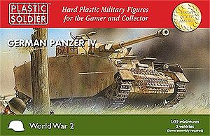 Plastic Soldier WWII Panzer IV Tank (3) -- Plastic Model Tank Kit -- 1/72 Scale -- #7206