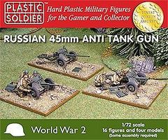 WWII Russian 45mm Anti-Tank Gun (4) & Crew (16) Plastic Model Weapon 1/72 Scale #7207