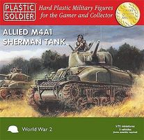 Plastic-Soldier WWII Allied M4A1 Sherman Tank (3) Plastic Model Tank Kit 1/72 Scale #7208