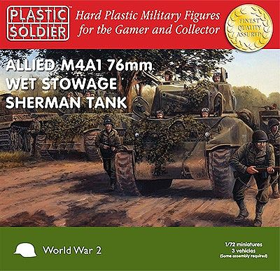 Plastic-Soldier WWII Allied M4A1 76mm Wet Stowage Sherman Tank (3) Plastic Model Tank Kit 1/72 Scale #7209