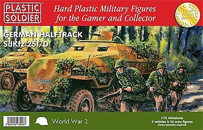 Plastic Soldier WWII German SdKfz 251/D Halftrack (3) & Crew (24) -- Plastic Model Halftrack Kit -- 1/72 -- #7211