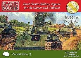 Plastic-Soldier WII Russian T70 Tank (3) & Crew (6) Plastic Model Tank Kit 1/72 Scale #7215